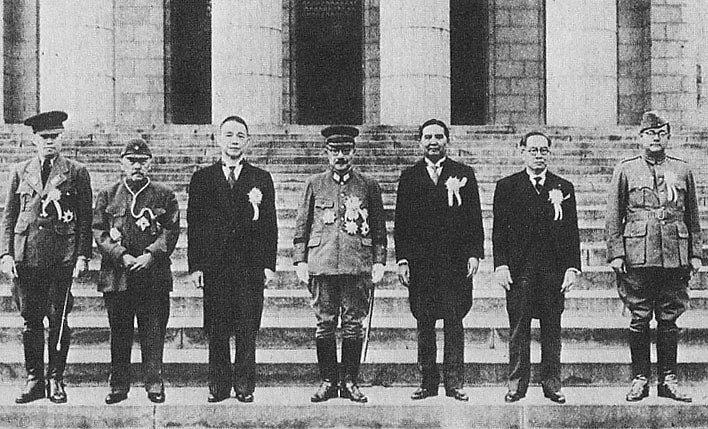 Participants of the Greater East Asia Conference. Left to right : Ba Maw, Zhang Jinghui, Wang Jingwei, Hideki Tōjō, Wan Waithayakon, José P. Laurel, Subhas Chandra Bose.