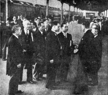 Wang Jingwei, Chu Minyi and Zhou Fohai on December 1942 visit to Japan
