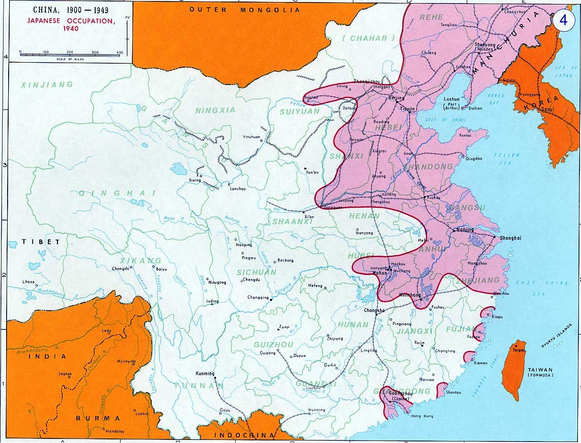 Diagram shows Chinese territories occupied by Japan in 1940