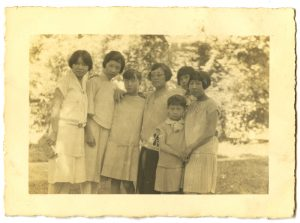Left to right: Fang Junbi, Lin Rufen, Wang Wenxing, Chen Bijun, Wang Wenti, Zhu Mei, ca. 1920